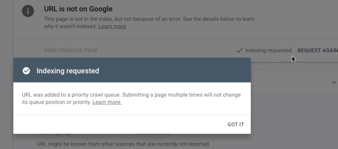 success using new google inspection tool