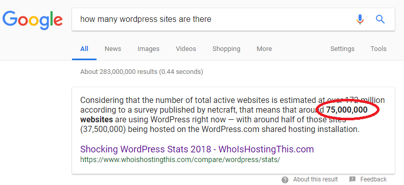 how many wordpress sites are there