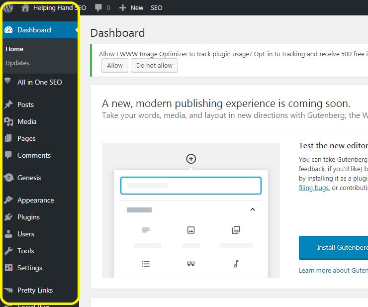 wordpress dashboard example