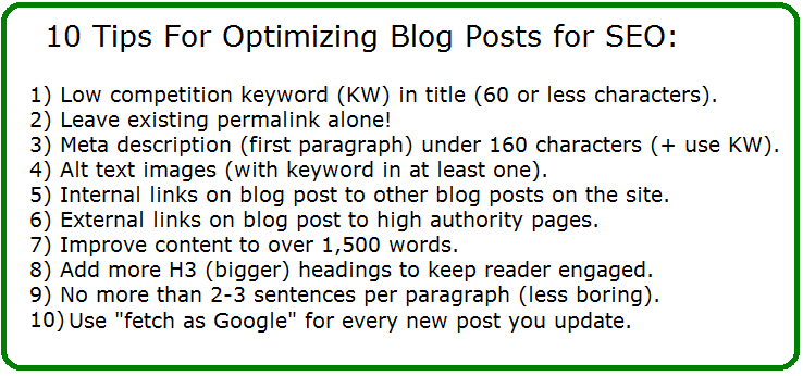how to optimize blog posts for seo and improve ranking