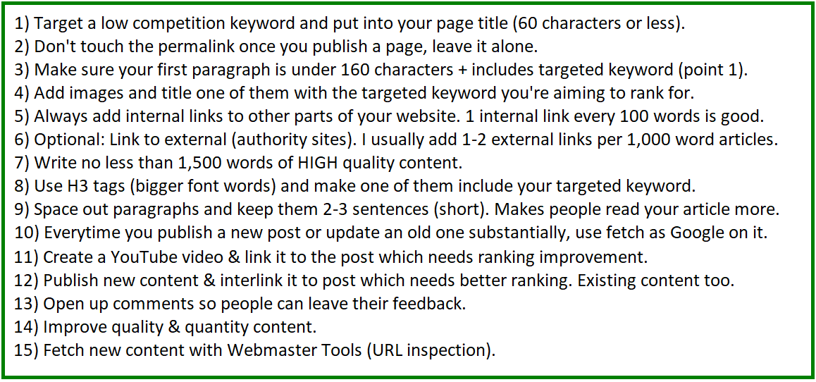 15 ways to improve google rankings for a website
