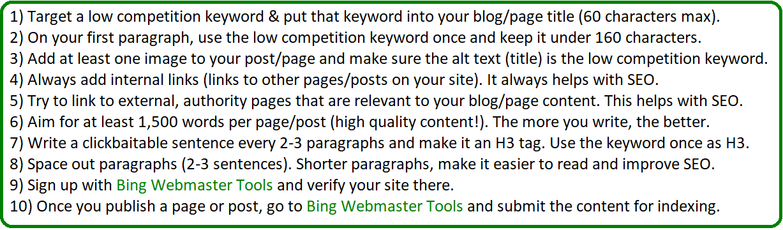 bing seo optimization tips