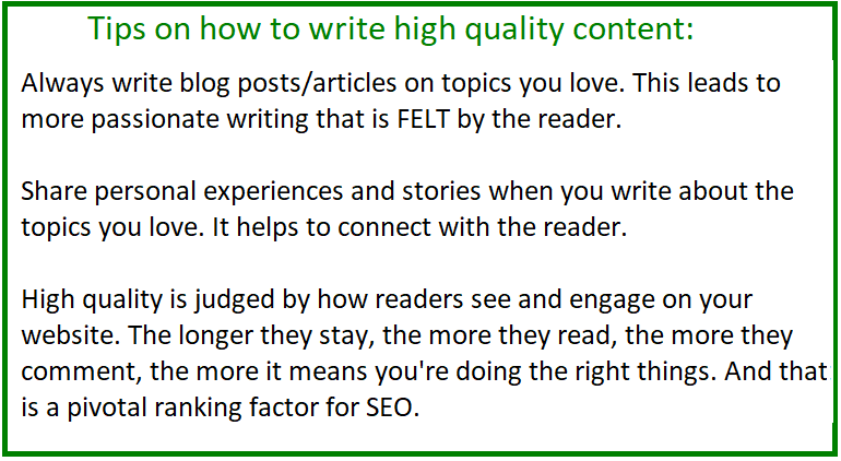 tips on writing high quality content